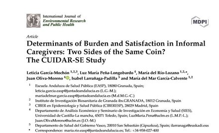 Determinants of Burden and Satisfaction in Informal Caregivers: Two Sides of the Same Coin? The CUIDAR-SE Study.