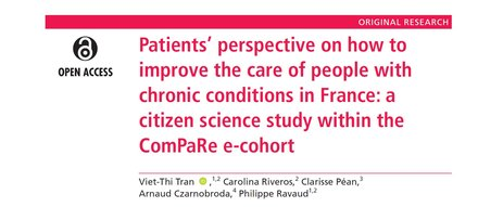 Patients' perspective on how to improve the care of people with chronic conditions in France: a citizen science study within the ComPaRe e-cohort