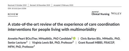 A state-of-the-art review of the experience of care coordination interventions for people living with multimorbidity.