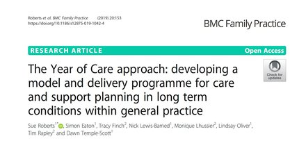 The Year of Care approach: developing a model and delivery programme for care and support planning in long term conditions within general practice